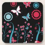 Pretty Girly Butterflies Flowers Pink Blue Pastel Drink Coaster