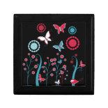 Pretty Girly Butterflies Flowers Pink Blue Pastel Trinket Box