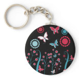 Pretty Girly Butterflies Flowers Pink Blue Pastel Keychains