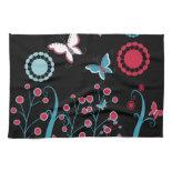 Pretty Girly Butterflies Flowers Pink Blue Pastel Kitchen Towel