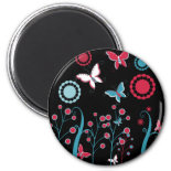 Pretty Girly Butterflies Flowers Pink Blue Pastel Magnets