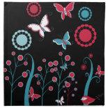 Pretty Girly Butterflies Flowers Pink Blue Pastel Napkin