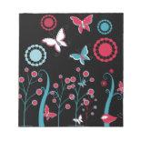 Pretty Girly Butterflies Flowers Pink Blue Pastel Memo Note Pad