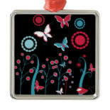 Pretty Girly Butterflies Flowers Pink Blue Pastel Christmas Tree Ornaments