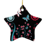 Pretty Girly Butterflies Flowers Pink Blue Pastel Christmas Ornaments