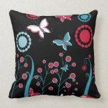 Pretty Girly Butterflies Flowers Pink Blue Pastel Throw Pillow