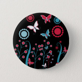 Pretty Girly Butterflies Flowers Pink Blue Pastel Pinback Button