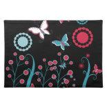 Pretty Girly Butterflies Flowers Pink Blue Pastel Place Mat