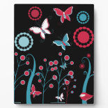 Pretty Girly Butterflies Flowers Pink Blue Pastel Display Plaques