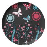 Pretty Girly Butterflies Flowers Pink Blue Pastel Dinner Plate