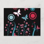 Pretty Girly Butterflies Flowers Pink Blue Pastel Postcards