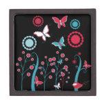 Pretty Girly Butterflies Flowers Pink Blue Pastel Premium Keepsake Box