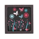 Pretty Girly Butterflies Flowers Pink Blue Pastel Premium Trinket Box