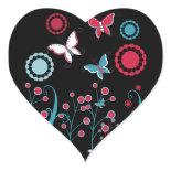 Pretty Girly Butterflies Flowers Pink Blue Pastel Heart Sticker