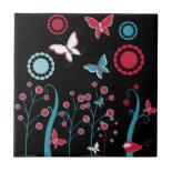Pretty Girly Butterflies Flowers Pink Blue Pastel Ceramic Tile