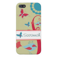 Pretty Girly Butterflies Flowers Pink Blue Tan iPhone 5 Cases