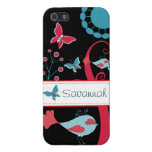 Pretty Girly Butterflies Flowers Pink Blue Tan iPhone 5 Covers