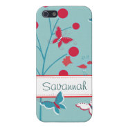 Pretty Girly Butterflies Flowers Pink Blue Tan iPhone 5 Case