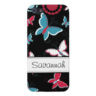 Pretty Girly Butterflies Pink Blue Black iPhone 5 iPhone SE/5/5s Cover