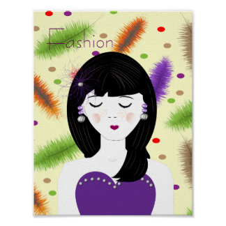 Pretty Girly Chic Fashion Lady Illustration Posters