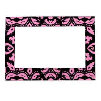 Pretty girly elegant black and pink damask magnetic photo frame