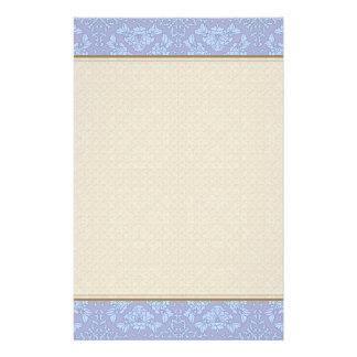 Pretty, Girly, Floral Pattern - Light Blue, Purple Stationery