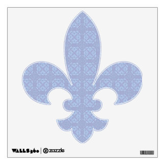Pretty, Girly, Floral Pattern - Light Blue, Purple Wall Sticker