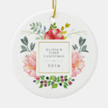 Pretty Girly Flowers Baby's First Christmas Double-Sided Ceramic Round Christmas Ornament