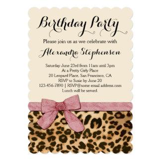 "Pretty Girly Leopard Pink Bow Birthday Party 5"" X 7"" Invitation Card"
