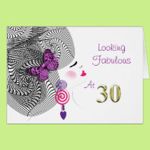 Pretty Girly Looking Fabulous At Thirty Card