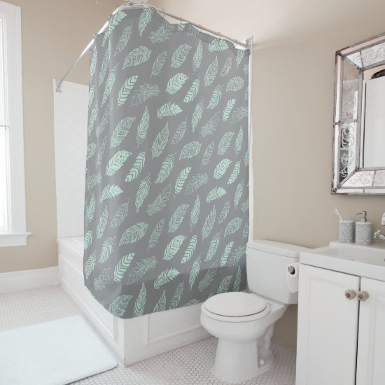 pretty girly mint gray boho feathers monogrammed shower curtain