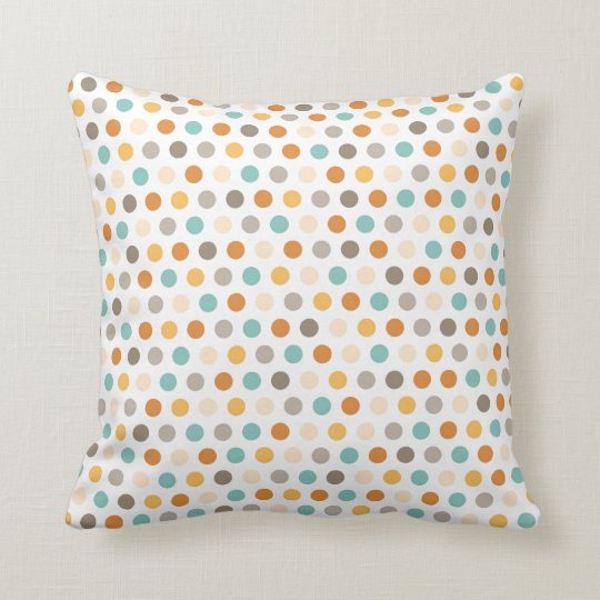 Pretty Girly Multi Color Polka Dots Orange Blue Throw Pillow