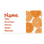 Pretty Girly Orange Flower Blossoms Floral Print Business Card Template