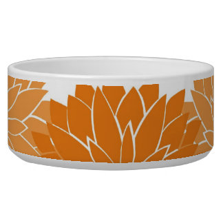 Pretty Girly Orange Flower Blossoms Floral Print Dog Water Bowl
