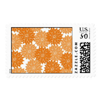 Pretty Girly Orange Flower Blossoms Floral Print Postage