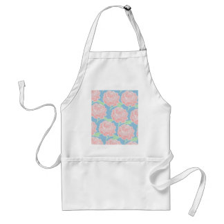 Pretty Girly Pastel Pink and Blue Floral Print Adult Apron