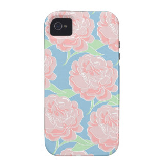 Pretty Girly Pastel Pink and Blue Floral Print Case-Mate iPhone 4 Cases