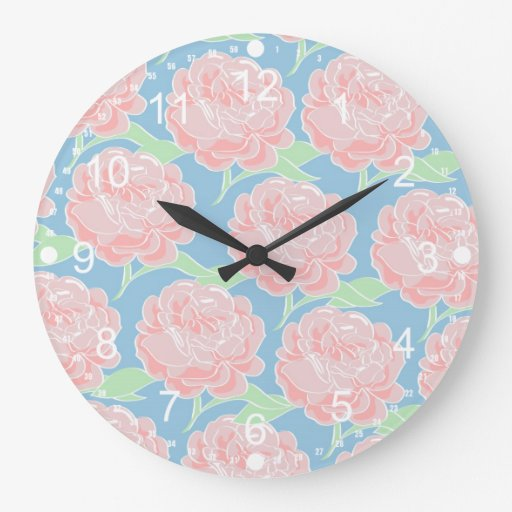 Pretty Girly Pastel Pink and Blue Floral Print Clocks