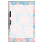 Pretty Girly Pastel Pink and Blue Floral Print Dry Erase Whiteboards