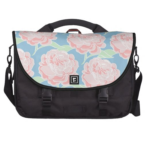 Pretty Girly Pastel Pink and Blue Floral Print Computer Bag