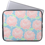Pretty Girly Pastel Pink and Blue Floral Print Laptop Sleeves