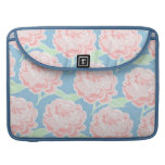 Pretty Girly Pastel Pink and Blue Floral Print Sleeves For MacBook Pro