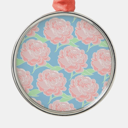Pretty Girly Pastel Pink and Blue Floral Print Metal Ornament