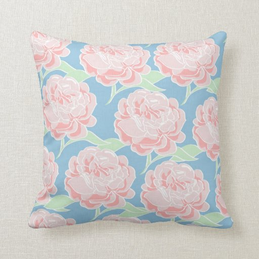 Pretty Girly Pastel Pink and Blue Floral Print Throw Pillows