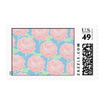 Pretty Girly Pastel Pink and Blue Floral Print Postage