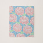 Pretty Girly Pastel Pink and Blue Floral Print Puzzles