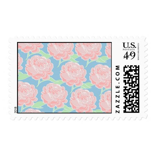 Pretty Girly Pastel Pink and Blue Floral Print Stamps