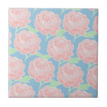 Pretty Girly Pastel Pink and Blue Floral Print Ceramic Tile