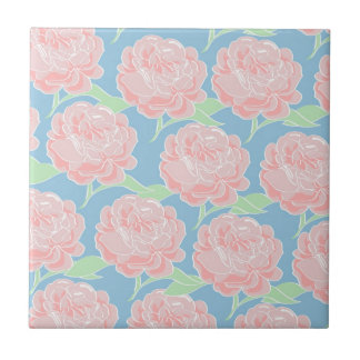 Pretty Girly Pastel Pink and Blue Floral Print Tile