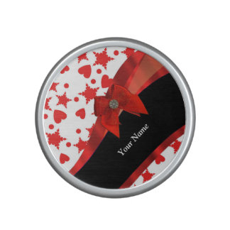 Pretty girly personalized red and white bluetooth speaker
